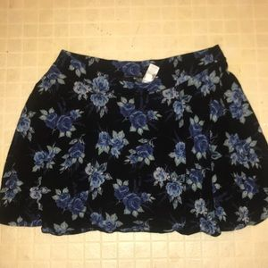 Black Circle Skirt with Floral Blue Pattern